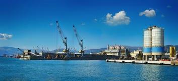货物终端端口热那亚,意大利全景与起重机的 库存照片