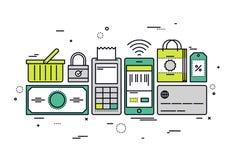 购物结算离开线型例证 库存例证