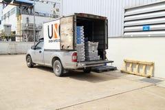 物质部分交付suppot的小卡车对工厂 免版税库存照片