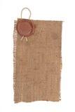 物质麻袋布密封蜡 库存照片