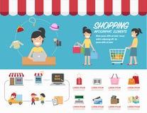 购物infographics传染媒介 库存图片