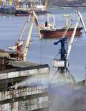 货物traine和煤炭在口岸 库存图片