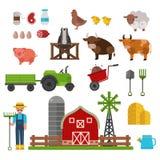 牲口、食物和饮料生产标志、有机产品、机械和工具在农场导航例证 免版税库存照片