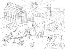 牲口和农村风景着色传染媒介成人的 免版税库存图片