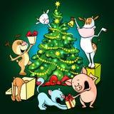 牲口庆祝圣诞节在树下-传染媒介 免版税库存照片