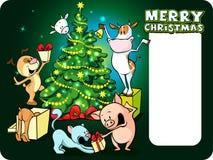 牲口庆祝圣诞节在树下-导航例证 免版税库存照片
