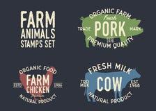 牲口标签 设置有机食品农夫市场、餐馆和商店的3张牲口邮票  母牛,P剪影  库存例证