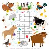 牲口纵横填字谜 横渡词的孩子搜寻与猫的难题比赛和母牛、狗和公鸡、马和鸭子 免版税库存照片