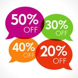 特价优待20%, 30%, 40%, 50%销售上色了讲话泡影标记传染媒介例证 免版税库存图片