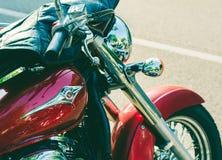特伦托, 2017年7月22日:显示经典摩托车 摩托车分开细节 葡萄酒过滤器作用 图库摄影