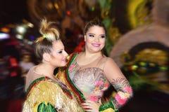 特内里费岛, 2月10日:字符和小组在狂欢节 免版税图库摄影