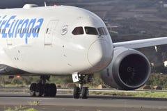 特内里费岛10月07日:飞行离开 2017年10月07日,特内里费岛加那利群岛西班牙 库存照片