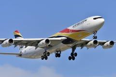 特内里费岛14 :飞机准备做着陆 2018年5月14日, 免版税库存图片