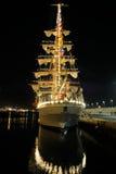 特内里费岛, 9月13日:墨西哥实习船靠了码头在圣克鲁斯de特内里费岛港  免版税库存图片