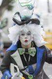 特内里费岛, 2月28日:字符和小组在狂欢节 免版税库存照片