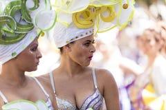 特内里费岛, 3月05日:字符和小组在狂欢节 免版税库存照片