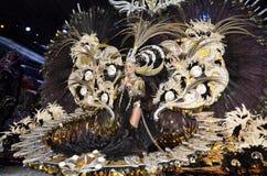 特内里费岛, 2月11日:狂欢节女王/王后,对旁观者du的波浪 免版税库存照片