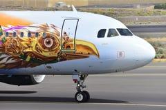 特内里费岛7月17日:对土地的飞机 2017年7月17日,特内里费岛金丝雀 免版税库存照片