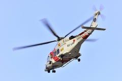 特内里费岛7月17日:直升机海抢救 2017年7月17日,特内里费岛 库存图片