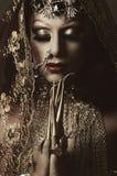 特写妇女在传统印度衣物穿戴了,极端长期沉重装饰在金子和典雅的面纱, 库存图片
