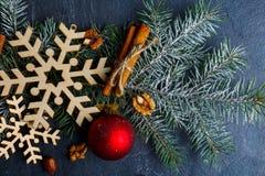 特写镜头与雪花、树玩具、肉桂条和核桃的树枝 项目符号 免版税库存图片