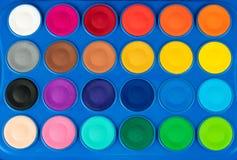 特写镜头五颜六色的水彩 免版税库存照片