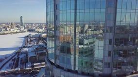特写镜头修造的杯有云彩的,建筑学的企业概念摩天大楼 城市的反射的 股票视频