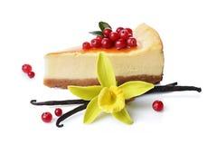 特写镜头切片可口自创乳酪蛋糕用新鲜的蔓越桔、焦糖调味汁、香草荚和花 免版税图库摄影