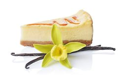 特写镜头切片可口自创乳酪蛋糕用焦糖调味汁、香草荚和花 免版税库存照片