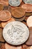 特写镜头半硬币的美元 免版税库存照片