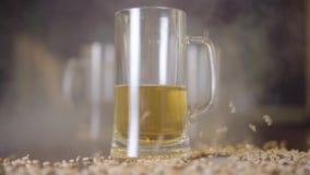 特写镜头啤酒站立在酒吧的桌上的杯在香烟烟云彩  花生被洒在旁边 影视素材