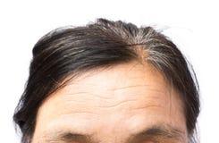 特写镜头在前额和灰色头发老妇人,健康汽车起皱纹 免版税库存照片