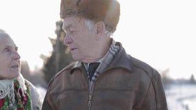 特写镜头夫妇愉快的前辈 年长妇女亲吻她的重的丈夫 老夫妇walkink在冬时的公园 影视素材
