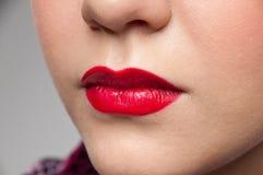 特写镜头女孩嘴唇纵向红色岩石年轻&# 免版税库存照片