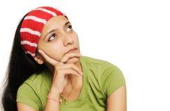 特写镜头女性女孩印第安少年 免版税库存照片