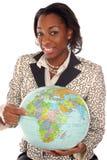 特写镜头她的头脑旅行妇女 免版税图库摄影