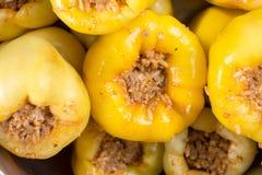 特写镜头宏观黄色辣椒粉充塞用肉末和为烹调准备 免版税库存照片
