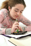 特写镜头家庭作业算术 库存照片