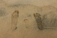 特写镜头家庭在沙滩的脚印刷品 库存照片