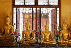特写镜头射击了在泰国佛教寺庙的金黄菩萨图象 图库摄影