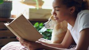 特写镜头射击了在说谎在与她的家谱狗的床上的业余时间的聪明的非裔美国人的妇女阅读书与大 影视素材