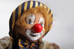 特写镜头小丑老木偶 免版税图库摄影