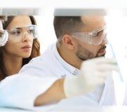 特写镜头工作在实验室里的医生药剂师和同事 免版税库存图片