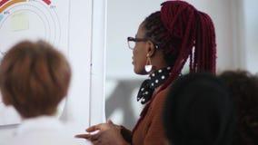 特写镜头愉快年轻偶然黑女性经理拍手,谈话与伙伴在现代轻的办公室flipchart 股票视频