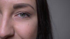特写镜头成人白种人深色的女性面孔半面孔画象与看与微笑的脸面护理的眼睛的照相机 股票录像