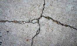 特写镜头打破或损坏用水泥涂地板 图库摄影