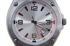 特写镜头查出的人s手表白色腕子 库存图片