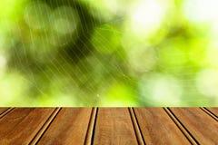 特写镜头棕色木纹理有绿色自然bokeh背景 抽象背景,空的模板 免版税库存图片
