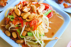 特写镜头泰国番木瓜的沙拉 图库摄影