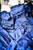 特写镜头泰国衣物, mauhom,蓝色织品,当地布料 免版税库存照片
